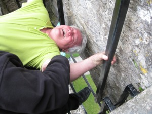 Bobby kisses the Blarney Stone.